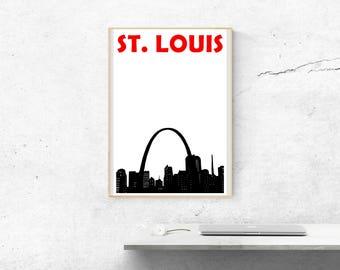 St. Louis Print // St. Louis Skyline // Missouri Art // St. Louis Poster // Missouri Print // St. Louis Art // Birthday Gift // Brother Gift