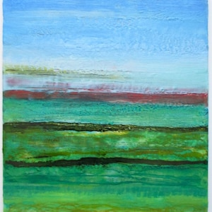 cape cod abstract landscape abstract beach painting landscape painting Encaustic abstract painting long island sound