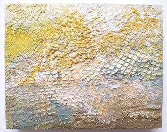 Encaustic abstract art, ocean floor painting, coral reef painting, underwater scene