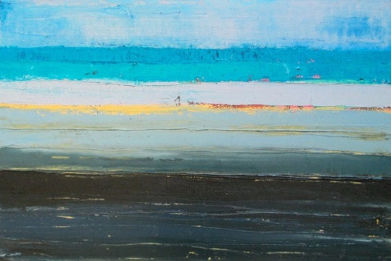 Abstract Ocean Oil Painting Abstract Beach Painting Blue