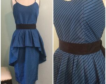 Vintage Blue Velvet, 80's Dress. NYE. party Dress. Blondie. Cocktail dress. Holiday.