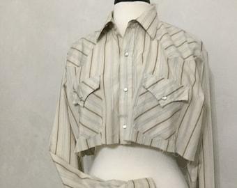 Vintage Western Snap Down Cut Half shirt Woman's Beige