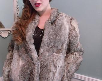 Vintage 60's 70's Gray Fur Coat. Vintage Authentic Rabbit Fur Coat Size: Large