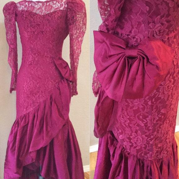 Burgundy Lace Cokctail Dress, Prom Dress, Formal G