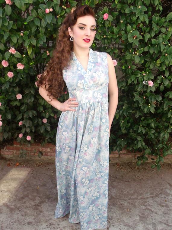 Vintage 60's Maxi Day Dress. Light Blue Floral Pri