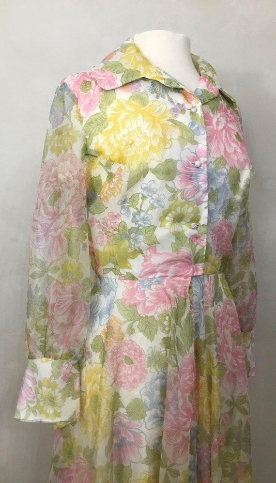Vintage Floral Maxi Dress. 60's Cocktail Party Dr… - image 8