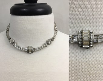 1950's Clear Rhinestone Cocktail Necklace Art Deco Black Tie Evening Formal