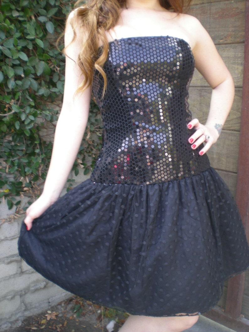 6455baccff2 Vintage Black Sequin Dress Saks Fifth Avenue Dress Prom Dress.