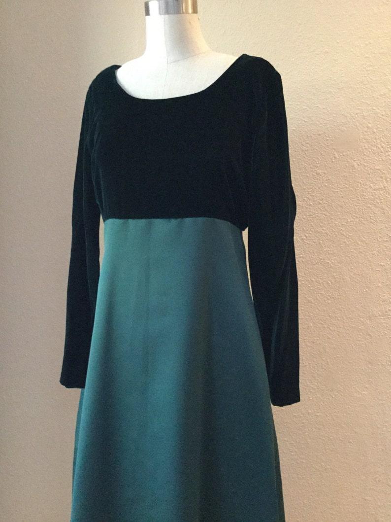 Green Velvet Full Length Gown FIONA Costume Vintage Emerald Green Empire Waist