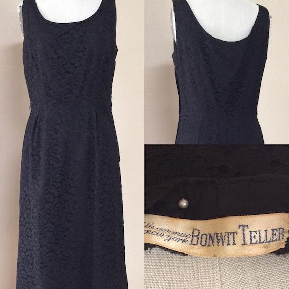 50's  black lace wiggle dress. 50's cocktail dress