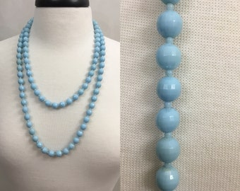 Vintage Light Blue Turquoise  Beaded Necklace Long. Costume. Theater Jewlery