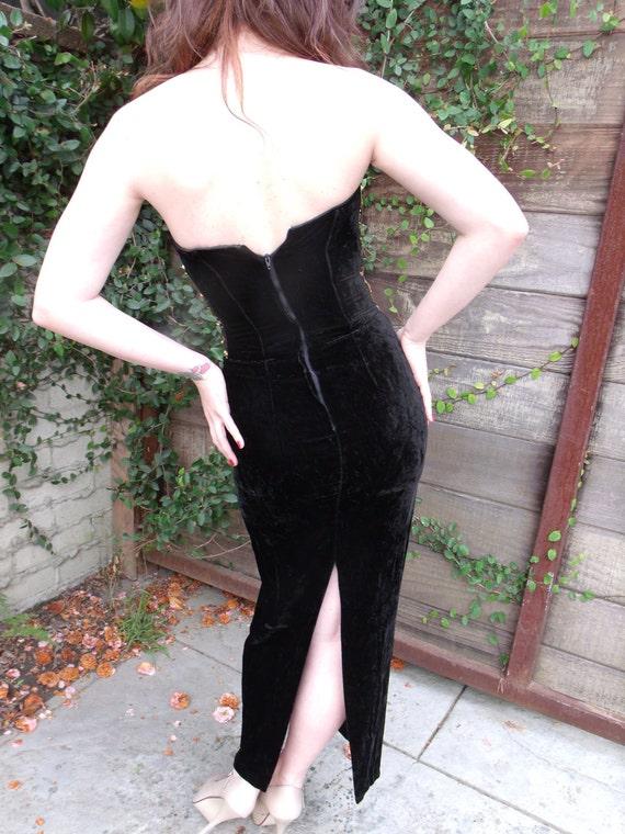 Vintage Black Velvet Gunne Sax Dress. Formal Gold… - image 4