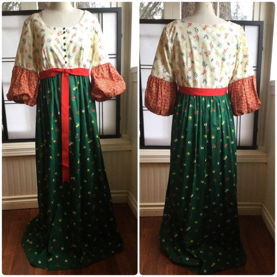 70's Malia of Honolulu Maxi Dress. Prairie Dress.
