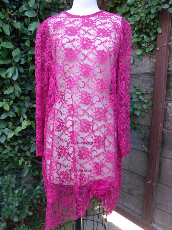 Vintage Lace Dress. Burgundy Lace Dress 80's Sheer