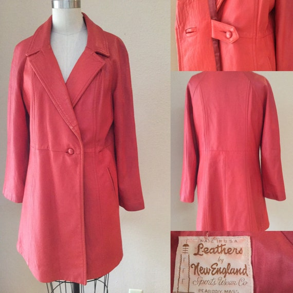 Vintage Red Leather Coat, 60's New England Made Fu