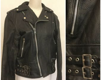 Mens Black Leather Jacket. Vintage Rock N Roll. Racer. Size 40. Biker.