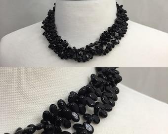 Black Beaded Necklace. Pebble Choker. Black stone necklace