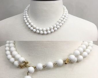 Vintage 60's White Beaded Double Strand Choker. Necklace