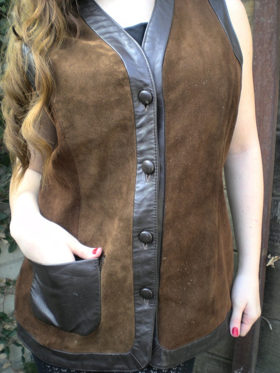 Vintage Brown Suede & Leather Vest. 60's Boho Vest