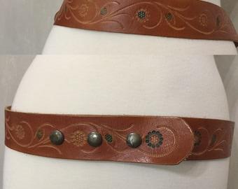 Vintage 70's Tooled Brown Leather Belt Snaps