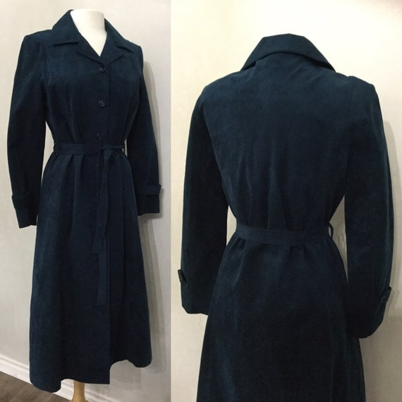 Vintage 60s Designer Blue Suede Dress Coat