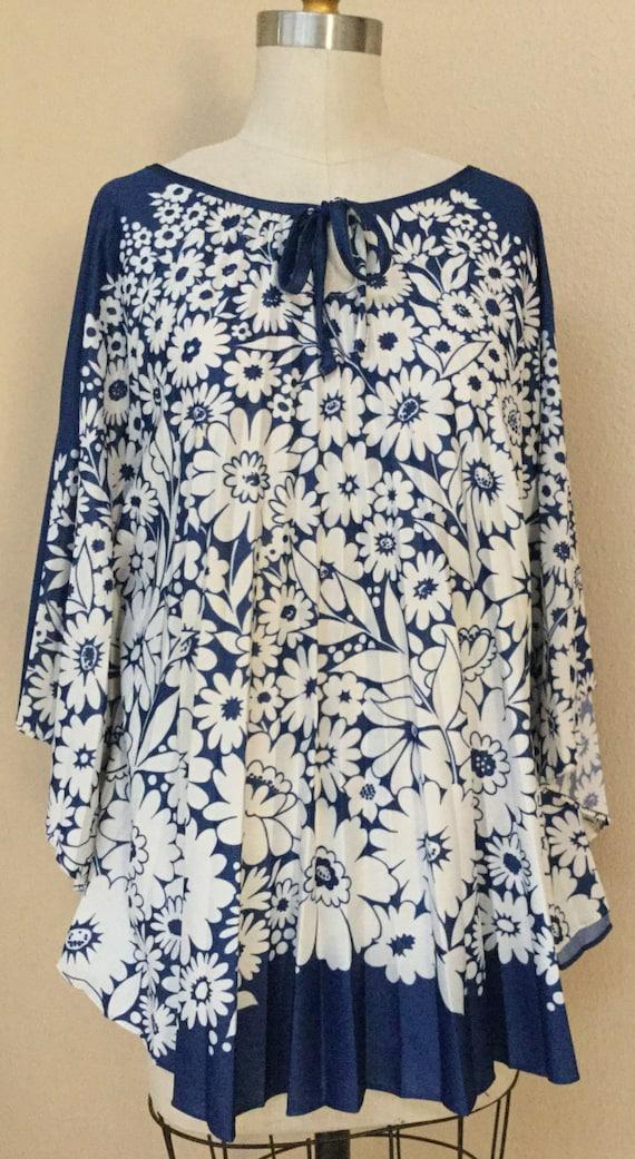 Vintage Floral Navy Blue Shirt. Draped Cape Top. 6