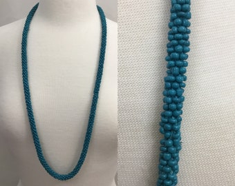 Vintage Turquoise Blue Cluster Beaded necklace