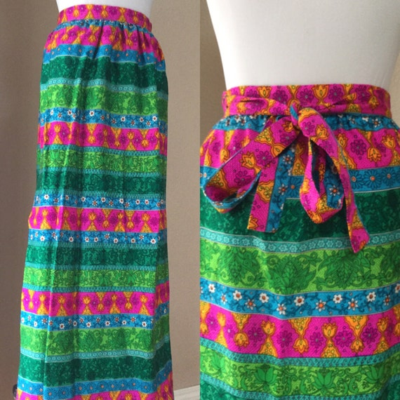 Vintage 60's maxi .Wrap Skirt. Multi colored summe