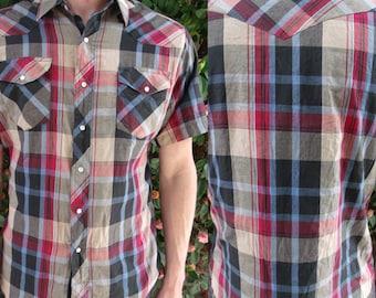 Men's Vintage Plaid Snap Down Shirt, 70's Short Slv.Shirt.Western