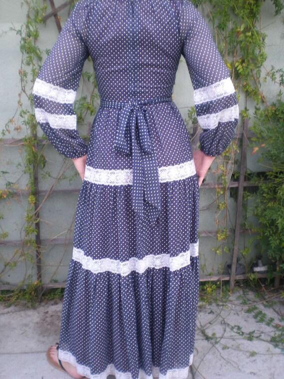 Maxi Dress. Navy Blue,Swiss Dot,Prairie Dress, Vin