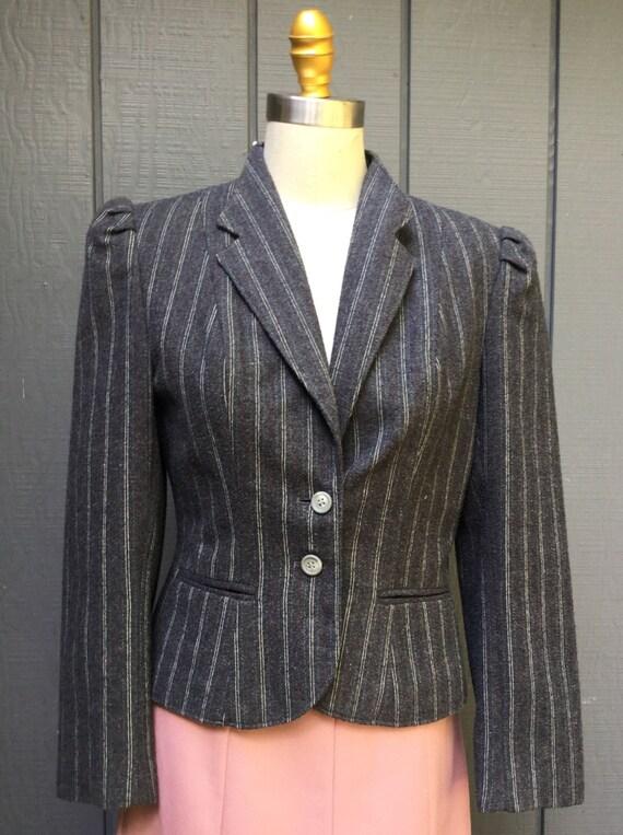 Vintage grey wool Blazer. 80's Secretary Blazer. P
