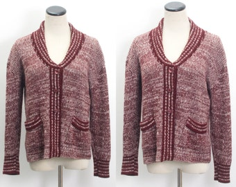 3e4f7f1a66dbf5 VTG 70 s Heathered Maroon Cardigan (Medium   Large) Fisherman Shawl Collar  Long Sleeve Dark Red Stripes Sweater Button Up Vintage Knit