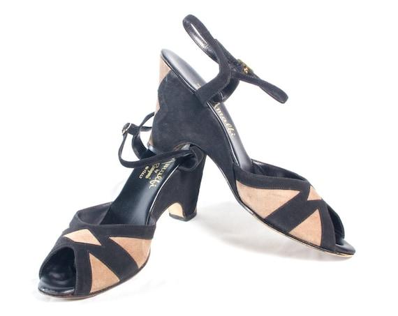 VTG 70's size 8 8 12 Women's Deco Suede Geo Wedge Sandals Geometric Strappy High Heels Black Tan Leather Peep Toe High Heels Platforms