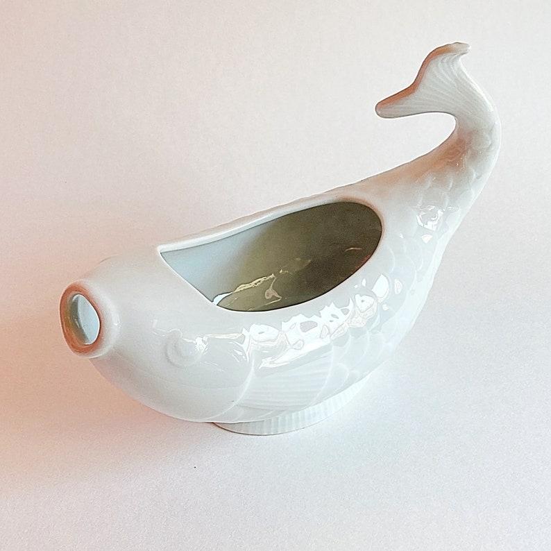 VTG 80s vintage Dansk white porcelain koi gravy boat fish serving ware tableware kitchenware boho retro kitchenalia