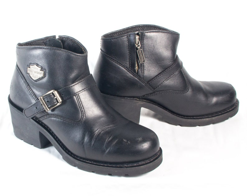 2e2fbb59ca270a VTG 90 s Black Leather Harley Davidson Motorcycle Boots
