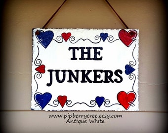 Personalized Hand Painted Decorative  Slate Sign with Hearts Border/ Personalized Decorative Slate Sign/Decorative Hearts Border Slate Sign