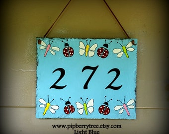 Ladybug Butterfly Dragonfly Hand Painted Decorative Address Slate Sign/Butterflies Address slate Sign/Ladybugs Dragonflies Address Sign