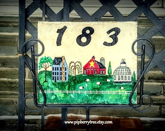 Primitive Village with Sheep Hand Painted Decorative Address Slate Sign/Decorative Address Slate Sign/Saltbox House Address Slate Sign