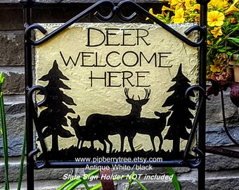 Deer Welcome Here Hand Painted Decorative Slate Sign/Deer Welcome Here Slate Sign/Welcome Slate Sign