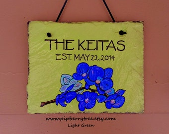 Personalized Established Date Blue Purple Orchids Hand Painted Decorative Slate Sign/Blue Purple Orchid Slate Sign/ Personalized Plaque