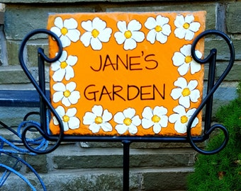 Personalized White Flower Border Hand Painted Decorative Slate Sign/Decorative Garden Slate Sign/Flower Border Decorative Slate Sign