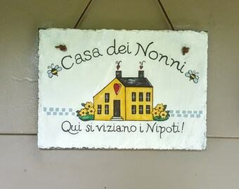 Personalized Saltbox House Hand Painted Decorative Slate Sign/ Saltbox House Slate Sign Plaque/Personalized Slate Sign Plaque