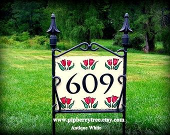 Hand Painted Decorative Address Slate -Red Tulip Border