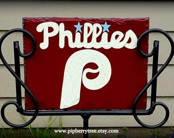 MLB Baseball Slate Sign/Phillies Hand Painted Decorative Slate Sign/Philadelphia Phillies Baseball Team Slate Sign/Sports Sign/Phillies Sign