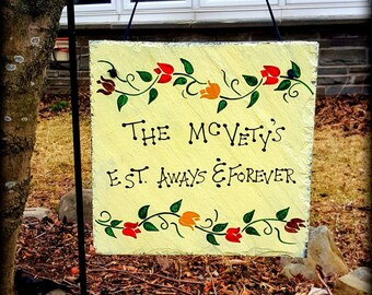 Personalized Tulip  Border Hand Painted Decorative Slate Sign/Tulip Border Slate Sign/Personalized Slate Sign Gift/Personalized EST. Date