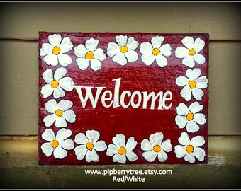 White Flower Border Welcome Hand painted Decorative Slate Sign/White Flower Border Hand Painted Slate Sign/Welcome Decorative Slate Sign
