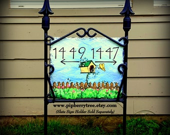 Birdhouse and Butterfly Hand Painted Decorative Address Slate Sign/Birdhouse and Butterfly Slate Sign/Address Slate Sign/Address Plaque