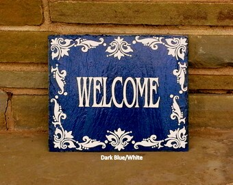 Royal Tile Decorative Welcome Slate Sign/ Hand Painted Decorative Slate Sign/ Welcome Slate Sign/ Fleur De Lis Welcome Slate Sign