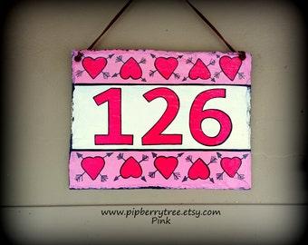 Hand Painted Decorative Slate Sign/ Street Address Decorative Slate Sign/ Street Address Hearts and Arrows Decorative  Slate Sign