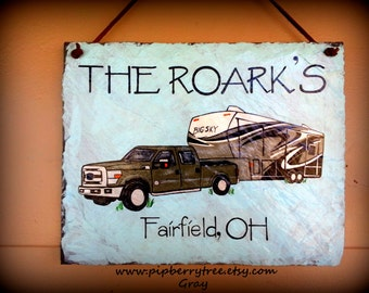 Personalized Custom Camper/Vehicle Edition Detailed Graphics Hand Painted Decorative Slate Sign/Camper Personalized Sign